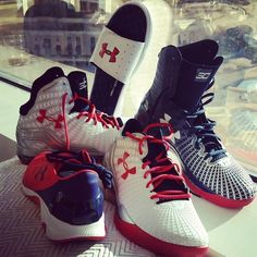Major S/O to uabasketball for the kicks representing #TeamUSA. Clutch Fit Drive series and the red white and blue Speedform Apollo. #IWill (via Stephen Curry - Instagram)