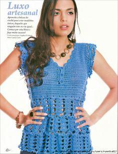Crochetemoda: Blusa Azul de Crochet crochet shirt