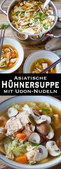 Eine kräftigende Suppe voller asiatischer Aromen. Schnell gemacht, lecker und sättigend. Sie ist voller gesunder Zutaten, die jede Erkältung bekämpft. ine asiatische Hühnersuppe mit Nudeln ist einfach unglaublich lecker. Und da der liebste Schwabe mit einer Sommergrippe zu kämpfen hatte, war diese Suppe die erste Wahl. Sie ist voller Umami-Zauberkräfte und das Gemüse, der Knoblauch und der Ingwer liefern die Vitamine und Nährstoffe. Einfache Gesunde Rezepte - Elle Republic
