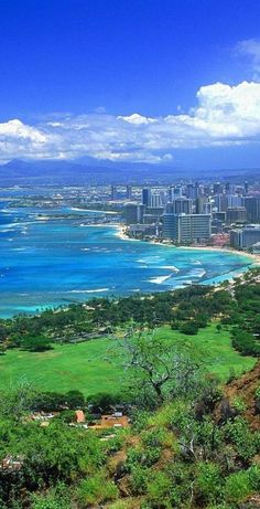 Looking down on Waikiki and Honolulu from Diamond Head on Oahu, Hawaii • orig. source not found
