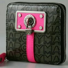 Marc by Marc Jacobs Jelly Jacquard Wallet This edgy zip around wallet features a black jacquard background with bright pink accent and silver hardware. It is pre-owned and has some signs of wear inside and on the zipper pull (see 2nd photo). Still has a lot of life left, though! Marc by Marc Jacobs Bags Wallets