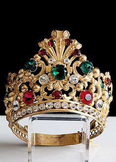 alhambraantiques.com - 19th Century Gilt Brass Tiara with Red and Green Facet Cut Glass Jewels