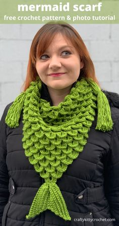 """They said I could be anything, so I became a MERMAID! The shape is a basic triangle scarf, but the scarf has """"scales"""" made using the Crocodile Stitch, and a little mermaid fin / tail to top it off! What a perfect gift for kids and adults alike! The scarf is easy to make and the pattern has photos to guide you. The scarf is great for any season - spring, summer, fall and winter! It's the perfect mix of fashionable, cute and unique! Make yours today with this FREE crochet pattern! Crochet Scarves, Crochet Cowls, Crotchet, Free Crochet, Funny Crochet, Crochet Wraps, Crochet Triangle Scarf, Mermaid Fin, Crocodile Stitch"""