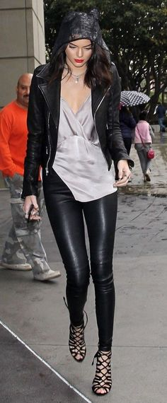 Edgy model look | Silver blouse, leather jacket and leather pants