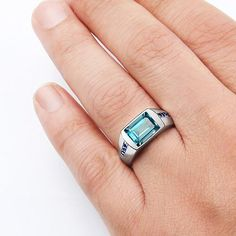 Men's Classic Ring with Citrine Gemstone and Blue Sapphire Accents in 925 Sterling Silver Mens Emerald Rings, Green Emerald Ring, Mens Gold Rings, Rings For Men, Blue Sapphire, Blue Topaz, Diamond Rings, Citrine Ring, Citrine Gemstone