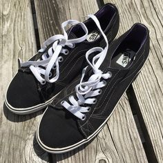 So Trendy! Black Vans! ❤️ EUC Perfect with everything! Great condition! One tiny rip at ankle seem as shown. Vans Shoes Sneakers