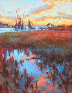 Sunset on Shem Creek by Jennifer Smith Rogers Country Art, Low Country, Boat Art, Tropical Art, Coastal Art, Inspiring Art, Pastels, Nautical, Folk