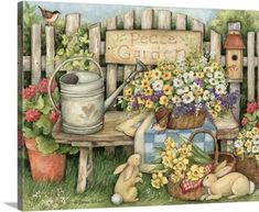 Susan Winget Premium Thick-Wrap Canvas Wall Art Print entitled Peace Garden, None Wallpaper Desktop, Home Wallpaper, Desktop Backgrounds, Wall Art Prints, Framed Prints, Canvas Prints, Arte Country, Garden Wall Art, Country Paintings