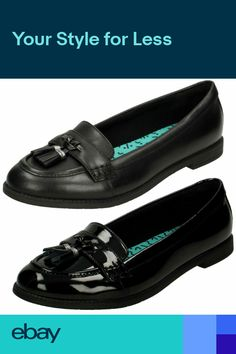 0d716c92dd18 Clarks Bootleg Preppy Edge BL Black Leather Or Patent Senior Girls School  Shoes