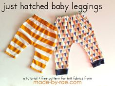 Sew these baby leggings from knit fabric.Free pattern that's easy to follow along.The knit fabric gives more flexibility.