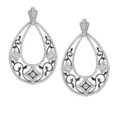 Ivanka Trump earrings in 18k white gold with black enamel and diamonds
