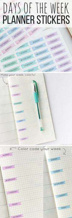 Cute days of the week planner stickers! I love the pastel colors of these. These stickers would work well in a bullet journal, or just an ordinary planner to add some color!