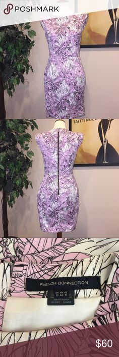 French Connection Floral Dress Fitted cap sleeve sheath dress from French Connection Size 8 Floral print in lavender/light pink shade Black exposed back zipper   Only worn a couple of times and in excellent condition! French Connection Dresses