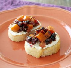 Butternut Squash & Goat Cheese Brushcetta with Bacon & Cranberries