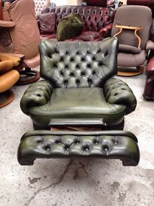 STUNNING Vintage Green Leather Chesterfield Recliner Chair | Recliner Chairs  | Pinterest | Chesterfield, Leather Chesterfield And Recliner