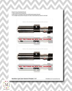 INSTANT DOWNLOAD - Star Wars Light Saber Valentines for Pixy Stix - Printable Set