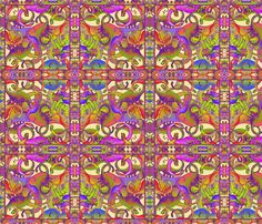 dinosaures bright psychedelic fabric by paysmage on Spoonflower - custom fabric