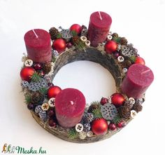 Adventi koszorú (Decoflor) - Meska.hu Ornament Wreath, Ornaments, Advent Candles, Xmas Decorations, Christmas Wreaths, Holiday Decor, Christmas Decorations, Christmas Door Decorations, Ornament