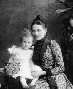 1888 - Princess Zenaida & her son Felix | Detail of a photograph taken w/ both her sons, Nicholas & Felix | The Yusupov family.