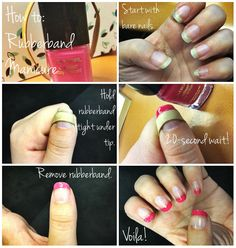 Use a rubberband to paint fingernails.