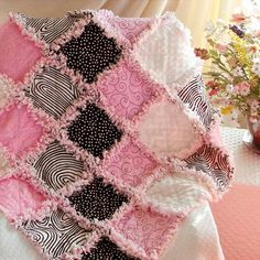 Baby Rag Quilt Pink Black and White