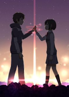 Kimi no na wa (Your name. Anime Sky, Film Anime, Manga Anime, Anime Love Couple, Cute Anime Couples, Anime Comics, Kimi No Na Wa Wallpaper, Your Name Wallpaper, Your Name Anime