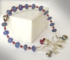 Tanzanite Pink Garnet Gemstone Sterling Silver Bead Bracelet via Etsy
