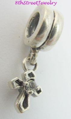 RETIRED Chamilia Sterling Silver 925 European Bead Charm Cross Dangle CZ GH-7 #Chamilia #European