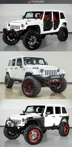 Red and White is a combo that can't go wrong! White Jeep Wrangler Unlimited, Jeep Wrangler Lifted, Jeep Tj, Jeep Rubicon, Jeep Wranglers, Hummer Truck, Jeep Truck, Jeep Wrangler Accessories, Jeep Accessories