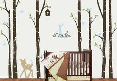 Free application Tool Birch Tree decal with Deer, Monogram, LG 7 tree Set, Birch forest, Nursery Birch Trees Wall decal LOWEST SHIPPING