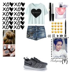 """Kim Taehyung [V]-From Bangtan ❤️"" by dania-exol-army ❤ liked on Polyvore featuring Dsquared2, NIKE, Stila and Lancôme"