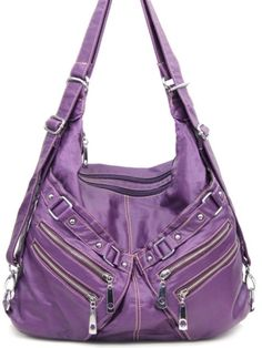 Convertible Backpack and Purse Stone Washed Handbag Coach Purses Outlet, Purses And Bags, Handbag Accessories, Fashion Accessories, Purple Pages, Convertible Backpack, Leather Clutch Bags, Balenciaga City Bag, Designer Purses