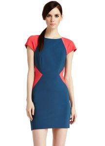 Blue Contrast Red Short Sleeve Bodycon Dress