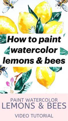 Lemon Watercolor, Watercolor Art Face, Watercolor Art Lessons, Watercolor Paintings For Beginners, Watercolor Tips, Watercolor Projects, Watercolor Techniques, Watercolor Journal, Watercolor Art Paintings