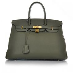 f7d2fff29ca9 HERMES Togo Leather Birkin 35 in a gorgeous Olive green Green Handbag