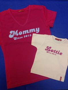 """Matching """"Mummy"""" and child T shirts from simplycolors.co.uk Perfect Mother's Day gift for new mums! #Special #Mum #Mothersday"""