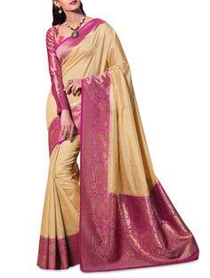 Buy Meghdoot beige n magenta brocade art kanjivaram silk saree Online, , LimeRoad