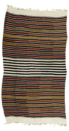 Africa | Textile from the Dogon people of Mali | Early 20th century | Cotton; woven in nine strips each with abstract patterns in indigo, red and yellow