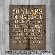 5Oth Anniversary Gift 50 Years Personalized by PrintsbyChristine