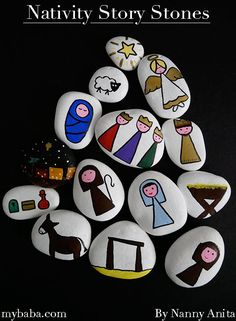 Nativity story stones are a fun way for little ones to learn about, join in with, and re-tell the story of the birth of Jesus. Pebble Painting, Pebble Art, Stone Painting, Rock Painting, The Nativity Story, Nativity Sets, Rock Crafts, Arts And Crafts, Rock Hand