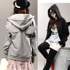 Damen-Korean-Casual-Fluegel-Hoodie-Kapuzen-Langarm-Jacke-Pullover-Hoody-Tops