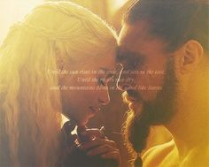 khaleesi and khal. I cried so hard when he died and when the warlocks showed her what could have been.