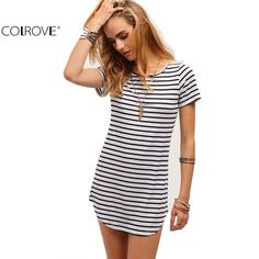 An effortless striped dress that has you looking good for any occasion- pair with your favorite necklace.    Casual, Stylish, Comfy,  White and Black  Striped Dress