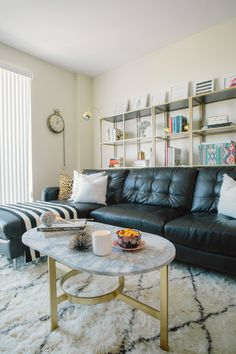 Style Me Pretty: Behind The Blog + Home Feature. Living Room  InspirationInterior Design InspirationBlack Leather CouchesBlack ... Part 67