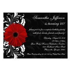 Red, Black and White Gerbera Daisy 40th Birthday Invitation