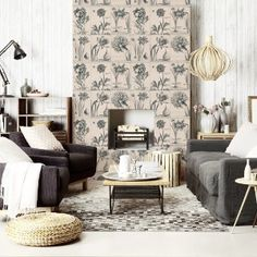 Decoration idea: create a faux-foyer with wallpaper