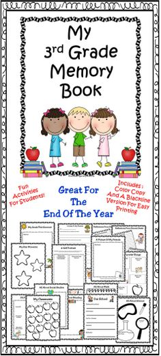 End Of Year Third Grade Memory Book - Includes many fun activities for children to complete at the end of the school year.