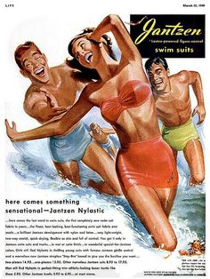 """""""Here comes something sensational..."""" Are they talking about the men or the swimsuit? Fifties' Jantzen swimsuit ad"""