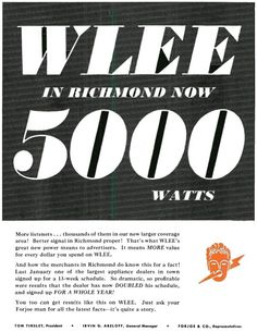 It's hard to find much about WLEE-AM in Richmond, Virginia...we know that it was a legendary Top 40 station. This site has great audio of WLEE's air check from Halloween 1969.  (This was the 1st station I listened to when I came to RVA in 1971)