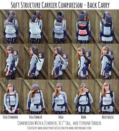 Soft Structured Carriers visual comparison chart-- Back Carries.